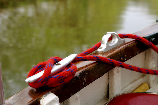 Red rope on boat